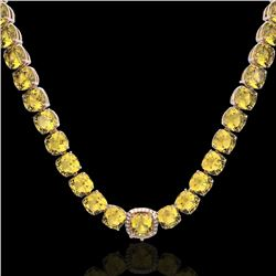 87 CTW Citrine & VS/SI Diamond Halo Micro Pave Necklace 14K Rose Gold - REF-335N6Y - 23340