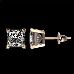 2 CTW Certified VS/SI Quality Princess Diamond Stud Earrings 10K Rose Gold - REF-552H2W - 33095