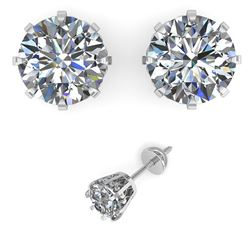 2.50 CTW VS/SI Diamond Stud Solitaire Earrings 14K White Gold - REF-736N4Y - 29547