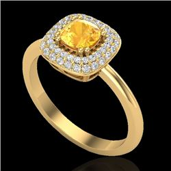 1.16 CTW Citrine & Micro VS/SI Diamond Ring Solitaire Double Halo 18K Yellow Gold - REF-72F9M - 2102