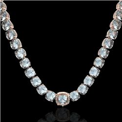 87 CTW Sky Blue Topaz & VS/SI Diamond Halo Micro Necklace 14K Rose Gold - REF-286K2R - 23365