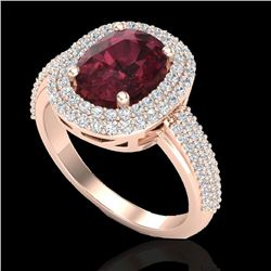 3.10 CTW Garnet & Micro Pave VS/SI Diamond Certified Halo Ring 10K Rose Gold - REF-81N8Y - 20711