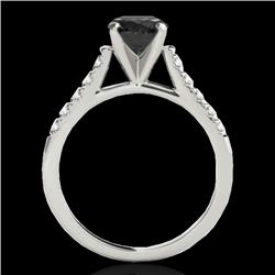 1.45 CTW Certified Vs Black Diamond Solitaire Ring 10K White Gold - REF-62F5M - 34982