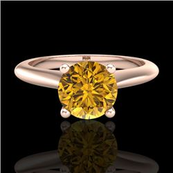 1.08 CTW Intense Fancy Yellow Diamond Engagement Art Deco Ring 18K Rose Gold - REF-172N8Y - 38205