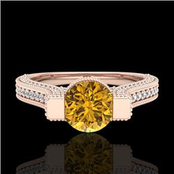 2 CTW Intense Fancy Yellow Diamond Engagement Micro Pave Ring 18K Rose Gold - REF-200M2F - 37624