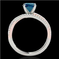 1.4 CTW SI Certified Fancy Blue Diamond Solitaire Ring Two Tone 10K White & Rose Gold - REF-180N2Y -