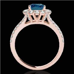 2.51 CTW SI Certified Fancy Blue Diamond Solitaire Halo Ring 10K Rose Gold - REF-309N3Y - 33946