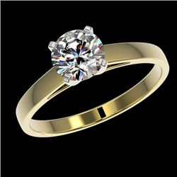 0.99 CTW Certified H-SI/I Quality Diamond Solitaire Engagement Ring 10K Yellow Gold - REF-140W2H - 3