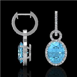 8 CTW Sky Blue Topaz & Micro Solitaire Halo VS/SI Diamond Earrings 14K White Gold - REF-90Y8N - 2274