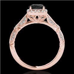 1.36 CTW Certified Vs Black Diamond Solitaire Halo Ring 10K Rose Gold - REF-68M9F - 33755