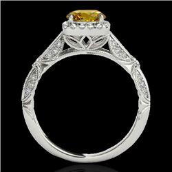1.36 CTW Certified Si Fancy Intense Yellow Diamond Solitaire Halo Ring 10K White Gold - REF-161Y8N -