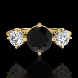 1.51 CTW Fancy Black Diamond Solitaire Art Deco 3 Stone Ring 18K Yellow Gold - REF-134N5Y - 38082