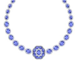 81.27 CTW Royalty Tanzanite & VS Diamond Necklace 18K White Gold - REF-1545W5H - 39228