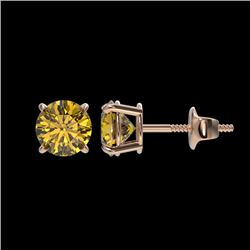 1.04 CTW Certified Intense Yellow SI Diamond Solitaire Stud Earrings 10K Rose Gold - REF-141N8Y - 36