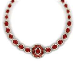 79.27 CTW Royalty Ruby & VS Diamond Necklace 18K Yellow Gold - REF-1309H3W - 39224
