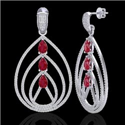 4 CTW Ruby & Micro Pave VS/SI Diamond Certified Designer Earrings 18K White Gold - REF-255Y5N - 2245