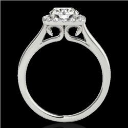 1.37 CTW H-SI/I Certified Diamond Solitaire Halo Ring 10K White Gold - REF-167T3X - 33409