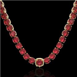 100 CTW Pink Tourmaline & VS/SI Diamond Halo Micro Necklace 14K Yellow Gold - REF-982N4Y - 23358