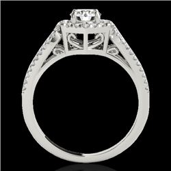 1.43 CTW H-SI/I Certified Diamond Solitaire Halo Ring 10K White Gold - REF-170T9X - 34016