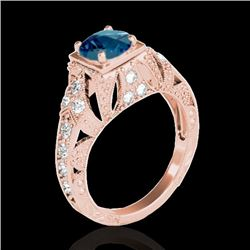1.25 CTW SI Certified Blue Diamond Solitaire Antique Ring 10K Rose Gold - REF-172R8K - 34672