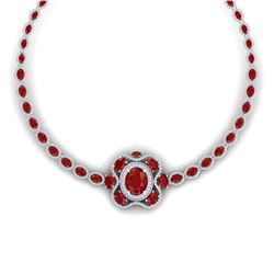 47.43 CTW Royalty Ruby & VS Diamond Necklace 18K White Gold - REF-981T8X - 39330