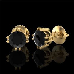 1.07 CTW Fancy Black Diamond Solitaire Art Deco Stud Earrings 18K Yellow Gold - REF-85R5K - 37536