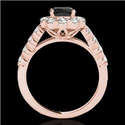 2.35 CTW Certified Vs Black Diamond Solitaire Halo Ring 10K Rose Gold - REF-115F3M - 33548