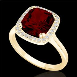 3 CTW Garnet & Micro Pave VS/SI Diamond Certified Halo Ring 18K Yellow Gold - REF-48W5H - 22845