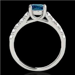 1.55 CTW SI Certified Fancy Blue Diamond Solitaire Ring 10K White Gold - REF-207W3H - 35494