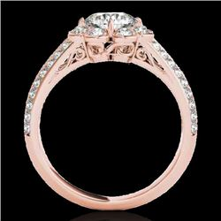 2.05 2.05 CTW H-SI/I Certified Diamond Solitaire Halo Ring 10K Rose Gold - REF-363Y5N - 34478