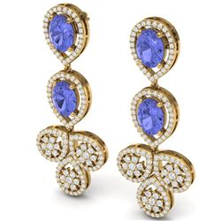 8.75 CTW Royalty Tanzanite & VS Diamond Earrings 18K Yellow Gold - REF-327M3F - 39089