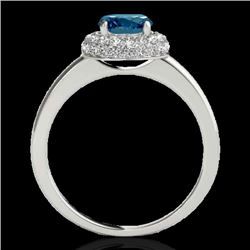 1.43 CTW SI Certified Fancy Blue Diamond Solitaire Halo Ring 10K White Gold - REF-169K3R - 33666