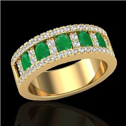 2.34 CTW Emerald & Micro Pave VS/SI Diamond Designer Ring 10K Yellow Gold - REF-67W3H - 20825