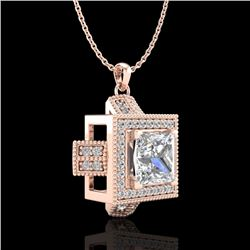 1.46 CTW Princess VS/SI Diamond Micro Pave Necklace 18K Rose Gold - REF-418M2F - 37194