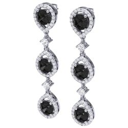 4.7 CTW Certified Black VS Diamond Earrings 18K White Gold - REF-209X3T - 39096