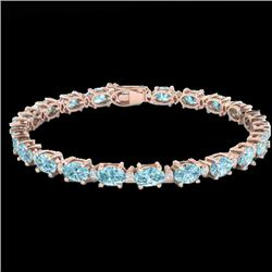 19.7 CTW Sky Blue Topaz & VS/SI Certified Diamond Eternity Bracelet 10K Rose Gold - REF-98H2W - 2938