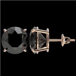 5.15 CTW Fancy Black VS Diamond Solitaire Stud Earrings 10K Rose Gold - REF-120Y5N - 36715
