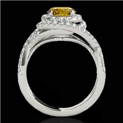 1.75 CTW Certified Si Fancy Intense Yellow Diamond Solitaire Halo Ring 10K White Gold - REF-209T3X -
