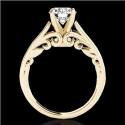 1.25 CTW H-SI/I Certified Diamond Solitaire Ring 10K Yellow Gold - REF-180R2K - 35148