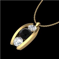 1.07 CTW Fancy Black Diamond Solitaire Art Deco Stud Necklace 18K Yellow Gold - REF-94K5R - 37774