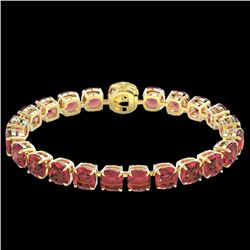40 CTW Pink Tourmaline & Micro VS/SI Diamond Halo Bracelet 14K Yellow Gold - REF-476W5H - 23321