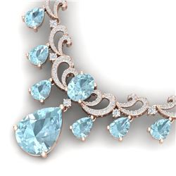 37.75 CTW Royalty Sky Topaz & VS Diamond Necklace 18K Rose Gold - REF-890M9F - 38665