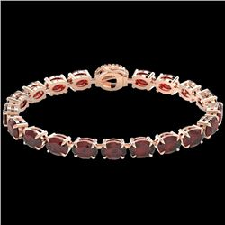 32 CTW Garnet & VS/SI Diamond Eternity Tennis Micro Halo Bracelet 14K Rose Gold - REF-119N5Y - 23426