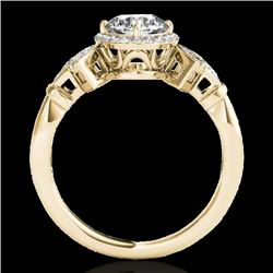 1.56 CTW H-SI/I Certified Diamond Solitaire Halo Ring 10K Yellow Gold - REF-209K3R - 34330
