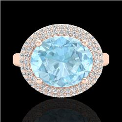 4 CTW Aquamarine & Micro Pave VS/SI Diamond Certified Ring 14K Rose Gold - REF-116W5H - 20904