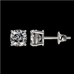 1 CTW Certified VS/SI Quality Cushion Cut Diamond Stud Earrings 10K White Gold - REF-143F6M - 33066