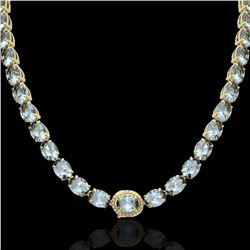 45.25 CTW Sky Blue Topaz & VS/SI Diamond Tennis Micro Halo Necklace 14K Yellow Gold - REF-200M2F - 4