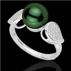 0.27 CTW Micro Pave VS/SI Diamond Certified & Peacock Pearl Ring 18K White Gold - REF-45K3R - 22642