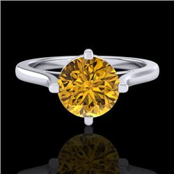 1.25 CTW Intense Fancy Yellow Diamond Engagement Art Deco Ring 18K White Gold - REF-218X2T - 38064