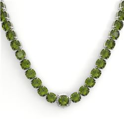 100 CTW Green Tourmaline & VS/SI Diamond Necklace 14K White Gold - REF-800X9T - 23349